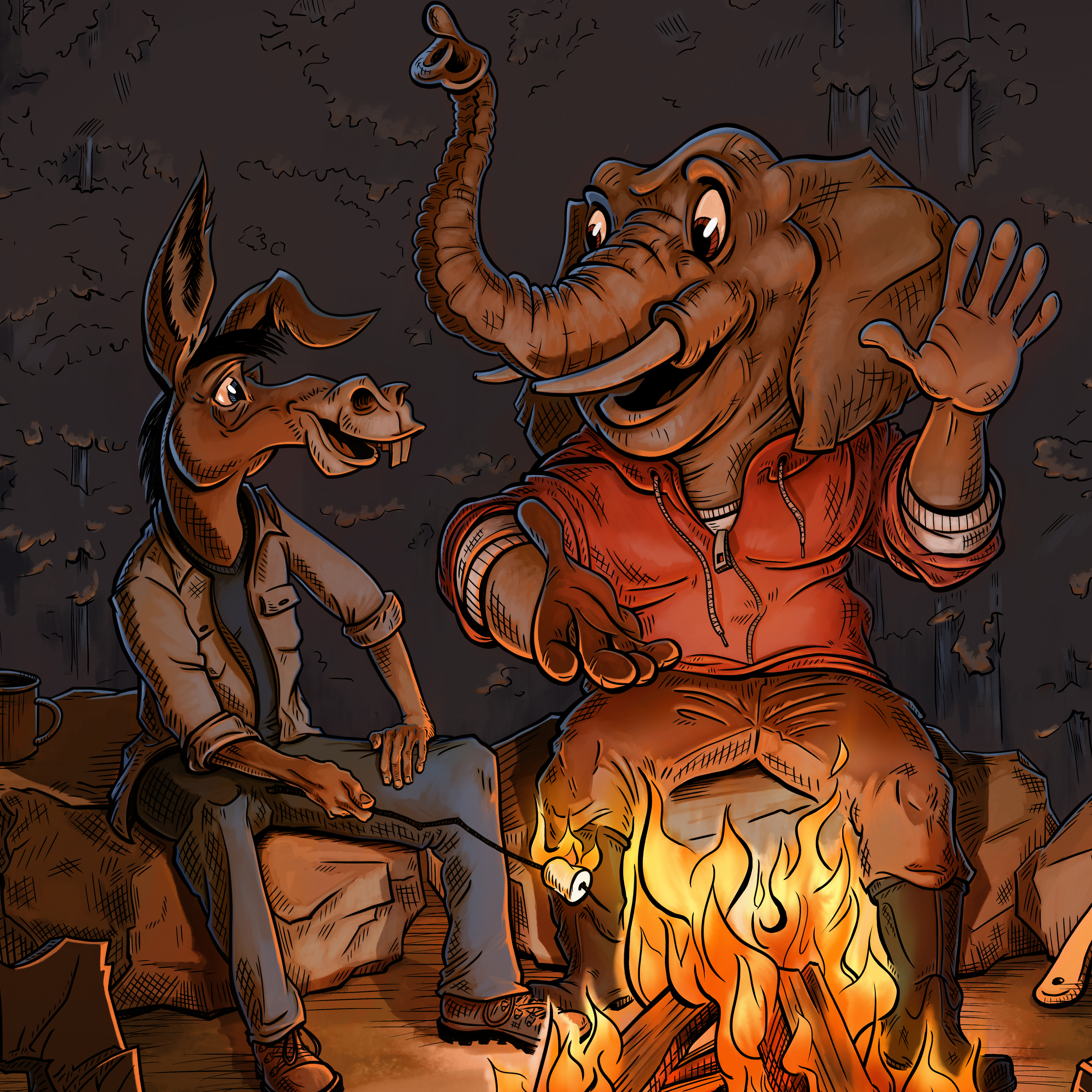 Democrat and Republican caricatures experiencing nature and outdoor activity around a campfire