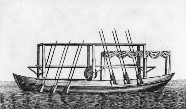 Image of John Fitch's steamboat with oars plan